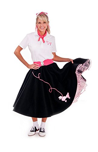 Hip Hop 50s Shop Adult 7 Piece Poodle Skirt Costume Set Black and Pink Large