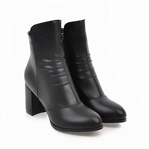Short Work Heel Boots High Zip Women's Block Mee Black Shoes ZPRwA