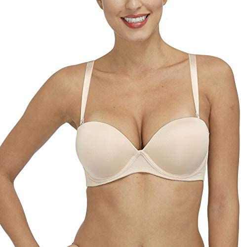 Vogues Secret Womens Strapless Convertible Push Up Bra Padded Clear Backless Bras with Invisible Straps