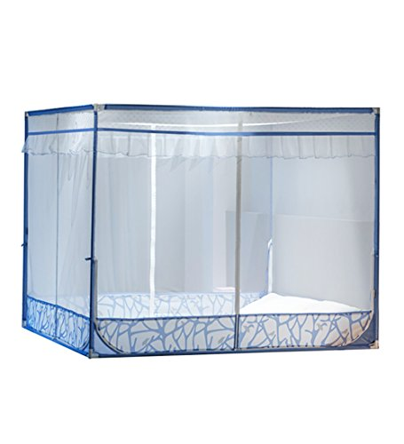 LIQICAI Mosquito Net 100% Polyester Sturdy iron stand Insect Protection, Convenient 3-door 2 color 6 size optional (Color : Blue, Size : 1.20 x 1.92 x 1.40m) (100% Polyester Net)