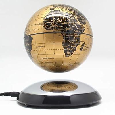 Home Office Desktop Decor 6 Inch Creative Magnetic Levitation Floating Globe World Map the Best Gift (Gold): Everything Else