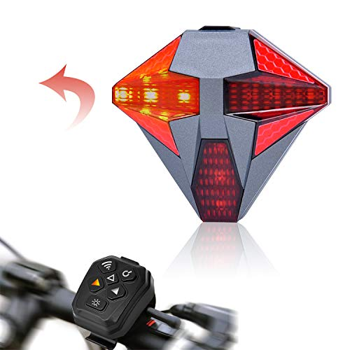 Bike Tail Light USB Rechargeable with Turn Signal, Remote Control for Safe Riding Super Bright Bicycle Tail Lights 4 Modes of Flashing with Alarm Sound for Road Bike, Mountain Bicycles