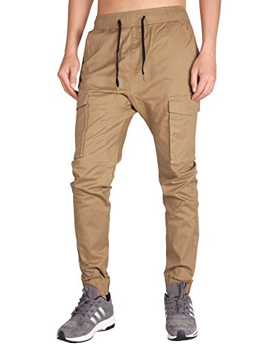 ITALY MORN Men's Chino Jogger Cargo Pants Bellow Pockets (XS, Dark Khaki)