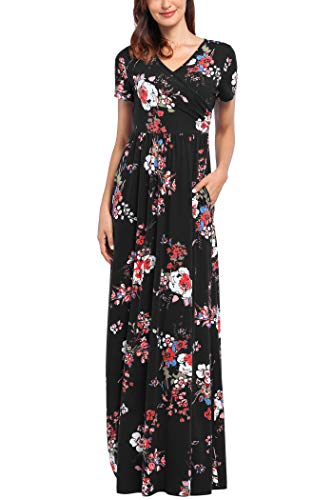 Comila Short Sleeve Maxi Dresses for Women, Summer V Neck Dress Pockets Vintage Floral Maxi Casual Dress with Pockets Elegant Work Office Long Dress Black S (US 4-6) by Comila (Image #1)