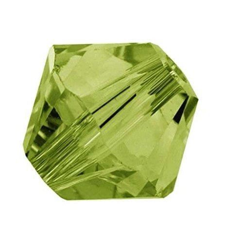 Olivine Rondelle Crystal (100pcs x Genuine Preciosa Bicone Crystal Beads 4mm Olivine Green Alternatives For Swarovski #5301/5328)