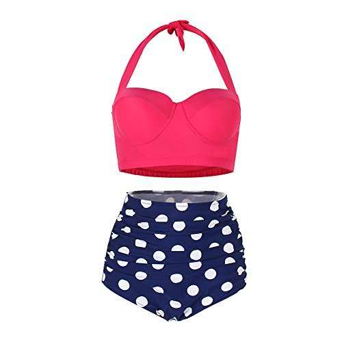 Lover-Beauty Vintage High Waisted Bikini Polka Two Piece Bathing Suit Rose Red 3XL