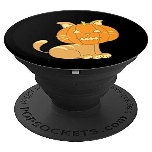 Funny Cat Pumpkin Happy Halloween Design - Halloween Gifts - PopSockets Grip and Stand for Phones and Tablets ()