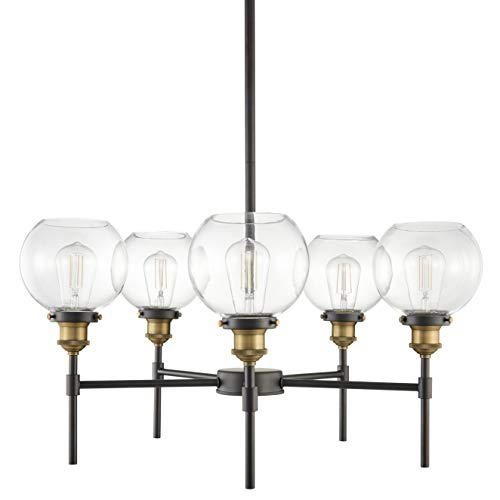 Primo 5 Light Chandelier | Antique Brass w/Black Industrial Hanging Light Fixture LL-CH425-AB