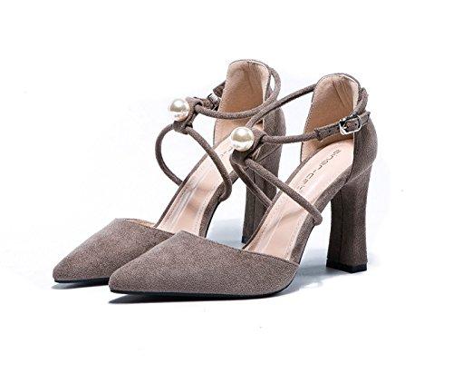 Tacco Sandalo Punta Similpelle Scarpe Casual per Donna
