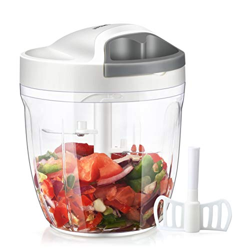 URPOWER Easy Pull Food Chopper Vegetable chopper, 5 Blades Powerful Manual Hand Held Chopper/Mincer/Blender to chop Onions, Garlics, Boneless Meats, Herbs, Fruits and for Salsa/Salad/Pizza/Pesto/Puree