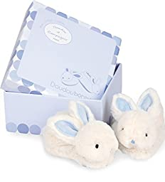 Dou Dou et Compagnie Blue Bunny Booties for Baby, Blue, 0-6 months