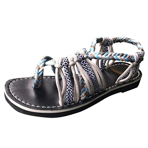 (Duseedik Women's Hemp Rope Sandals Summer Flip Flops Fashion Roman Beach Outdoor Shoes Slippers Army Green)