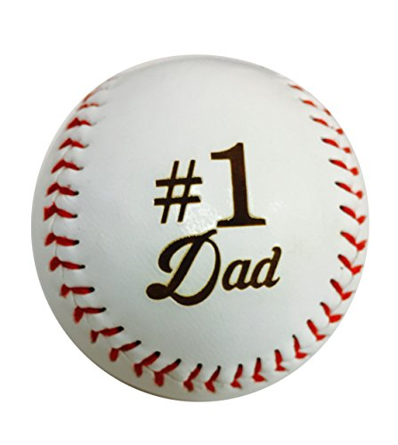 Number One #1 Dad Laser Engraved Synthetic Leather Baseball Gift - Father's Day, Birthday, Anniversary - Baseball Dad Gifts For