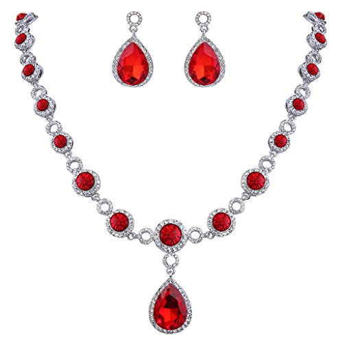 Women Fashion Bride Sets Pendant Necklace And Elegant Earrings Red - 5