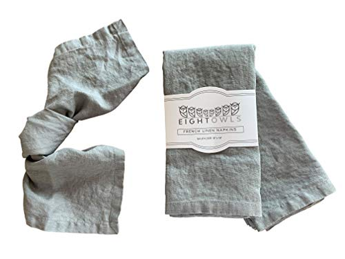 Eight Owls Linen Napkins -100% French Flax - Stonewashed Pure Linen Cloth Napkins - Size 18 Inch x 18 Inch - Set of 4 (Mid Gray)