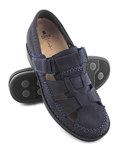 ZERIMAR Sandalias para hombres con alzas interiores de 7 Cm ¡OFERTA ESPECIAL 75 ANIVERSARIO! Diseño marcando moda 100% piel Color azul marino azul marino