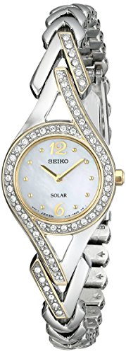 (Seiko Women's SUP174 Swarovski Crystal-Accented Two-Tone Solar Watch)