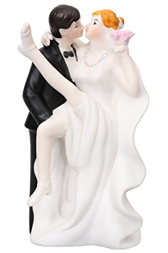 Groom Carrying Fiesty Sexy Bride Hand Painted Porcelain Cake (Groom Carrying Bride Cake Topper)