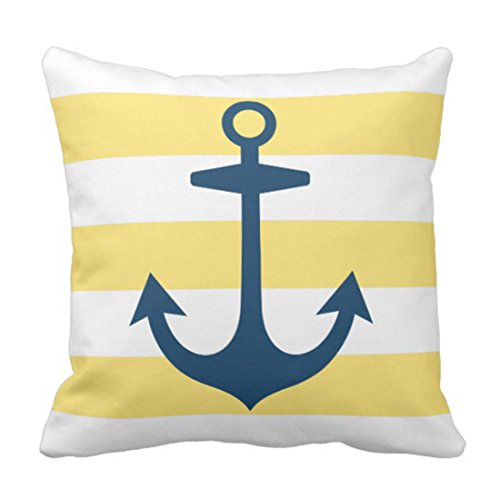 Emvency Throw Pillow Cover House Navy Blue Anchor with Yellow Nautical Modern Decorative Pillow Case Home Decor Square 20 x 20 Inch Pillowcase ()