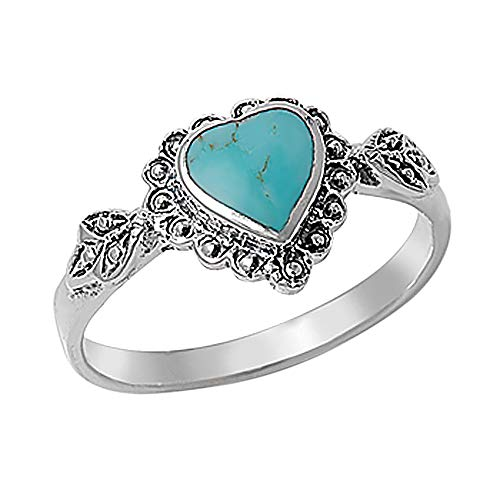 Double Accent Sterling Silver Simulated Turquoise Vintage Style Heart Promise Ring 10mm (Size 4 to 10), 8