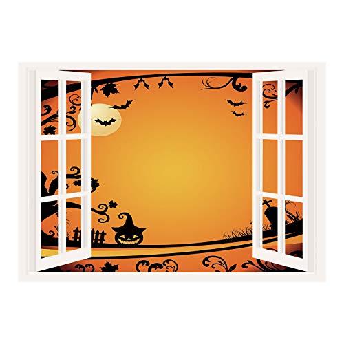 SCOCICI Creative Window View Home Decor/Wall Décor-Vintage Halloween,Halloween Themed Image Eerie Atmosphere Gravestone Evil Pumpkin Moon Decorative,Orange Black/Wall Sticker Mural -