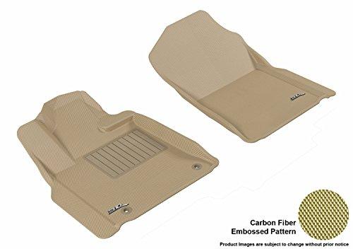 W-020) Tan Kagu Carbon Fiber Embossed Pattern Floor Mat Front Row (POST) for TOYOTA TUNDRA REG/DBL CAB/CREWMAX 12-18 ()