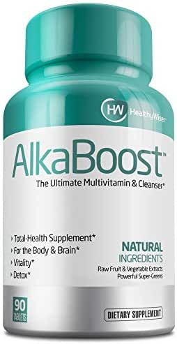 Alka Boost MultiVitamin for Healthy pH Balance, Alkaline Booster & Immune System Support. Natural Detox - Promotes Energy Clarity and Focus - Green and Wholefood Blend, 90ct