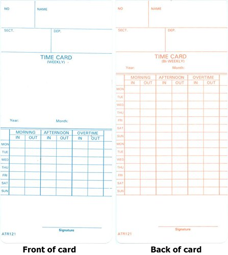 1000 ATR121 Time Cards for Acroprint ATR120 and ATR120r Time Clock Models, Weekly and Bi-weekly Pay Periods
