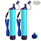 Homestopia Straw Filter, Straw Water Filter, Hiking Water Purifier, Camping Straw Filter for Backpacking, Drinking Water in Survival Situation - Blue - 2Pack