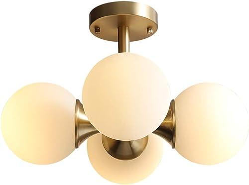 Modo Lighting Antique Brass 4- Light Ceiling Light Mid-Century Frosted Glass Globe Chandelier Modern Flushmount Fixture