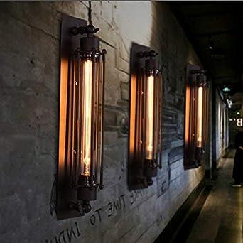 Lampada da parete in stile vintage con gabbia metallica 2x/Wandleuchte/44cm stile retr/ò Long Cage 60.00watts 110.00volts metallo Pauwer