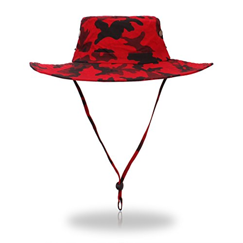 (belababy Outdoor Sun Hat Quick-Dry Breathable Mesh Hat Camping Cap Red Camouflage)