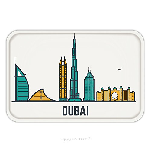 Frozen Costumes Dubai (Flannel Microfiber Non-slip Rubber Backing Soft Absorbent Doormat Mat Rug Carpet Dubai Architecture Skyline Silhouette Line Pixel Style Art Dubai Famous Buildings And Hotels 496021423 for Indoor/Outdo)