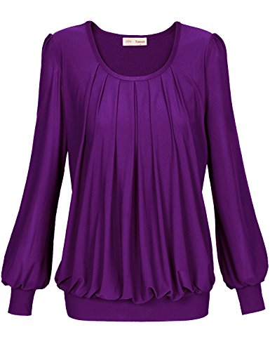 Timeson Women Dress Shirts, Womens Long Sleeve Scoop Neck Drape Front Blouse Medium Purple
