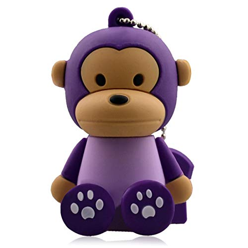 USB Flash Disk Memory Stick Cute Cartoon USB Flash Drive Memory Stick High Speed USB2.0 Creative Fashion Mini Portable (256GB, Monkey (Purple))