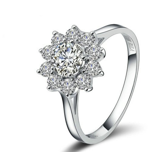 Amazon Lightning Deal 97% claimed: Yoursfs 18k White Gold Plated Sunflower Cubic Zirconia CZ Bridal Wedding Jewelry Ring