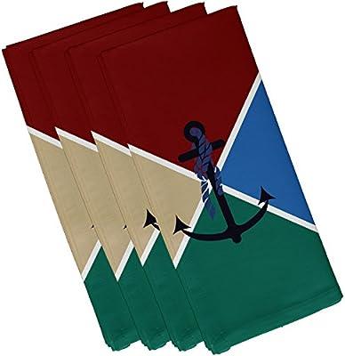Red 19 x 19 N4GN443RE1 19 x 19 E by design Anchor Flag Geometric Print Napkin