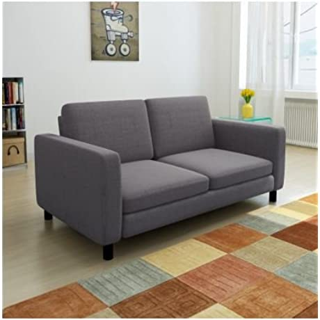 SKB Family Dark Gray 2 Seater Sofa Modern Couch Furniture