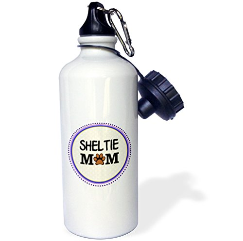 heltie Dog Mom-Shetland Sheepdog-Doggie Mama By Breed-Paw Print Love Doggy Lover Pet Owner Sports Water Bottle, 21 oz, White (Sheltie Paw Prints)