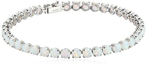 14k White Gold and Created Gemstone Tennis Bracelet