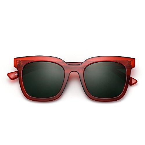 Mujer Rojo Cuadrado de Plano Verde Espejo Tintado Sol Gafas de Diseñador Anteojos Oversized S0Pvxq