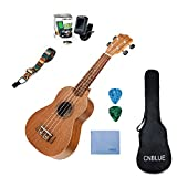 Mahogany Soprano Ukulele Starter Kits for Beginner with Tuner, Strap, Padded Bag, Strings