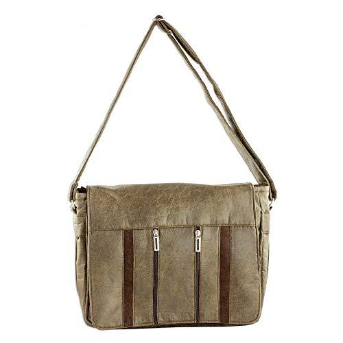 NOVICA Brown Faux Leather Messenger Bag, Elegant Combination'
