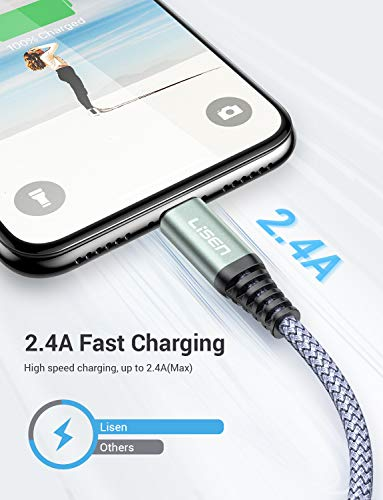 6ft  188m LISEN iPhone Charger Cable  Apple MFi Certified   Never Rupture  Lightning to USB A Cable