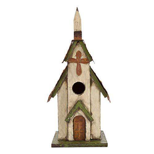 Glitzhome Birdhouse White&Green