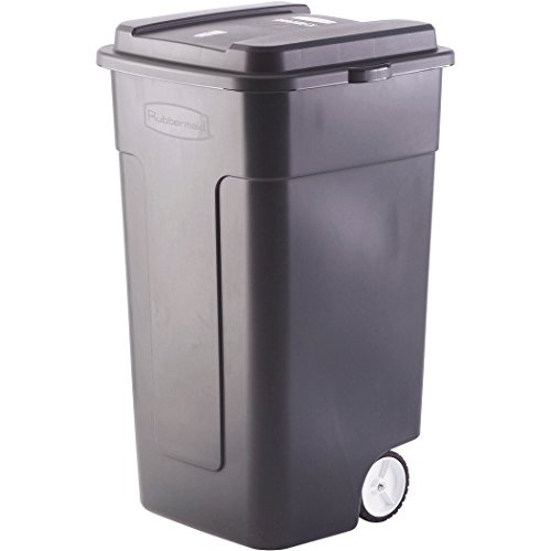Fox Wastebasket (Black Industrial Strength 50-Gallon Wheeled Trashcan)