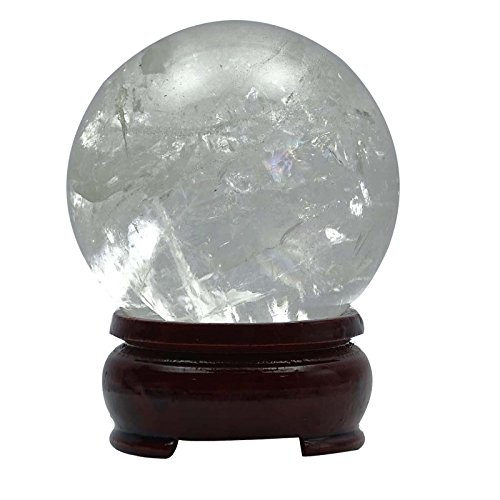 HARMONIZE Crystal Clear Quartz Sphere Ball Balancing Reiki Healing Crystal Table Décor Spiritual