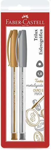 Caneta Esferográfica Metalizada, Faber-Castell, Trilux Colors, SM/032PO, 2 Unidades Prata e Ouro