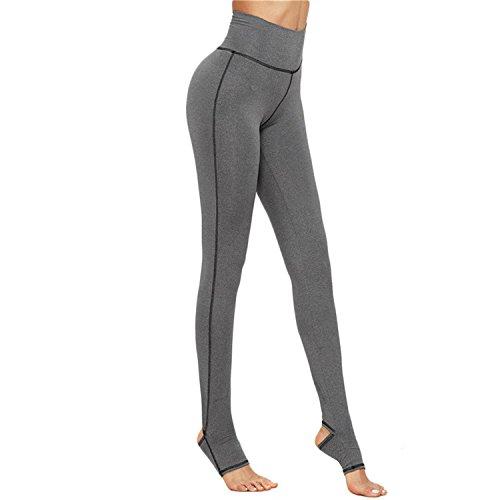 B Dressy Fashion Women's Casual Pants Grey Marled Knit Topstitch Slim Leggings,Large,Gray