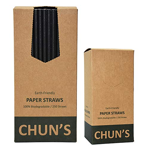 """Black Paper Straws, Solid black/250 Bulk, Food Safe Biodegradable Paper Drinking Straws for Cocktail, Drinks, Home, Party, Special Events and Restaurant, 7.87""""x0.24"""" (200mmx6mm)"""